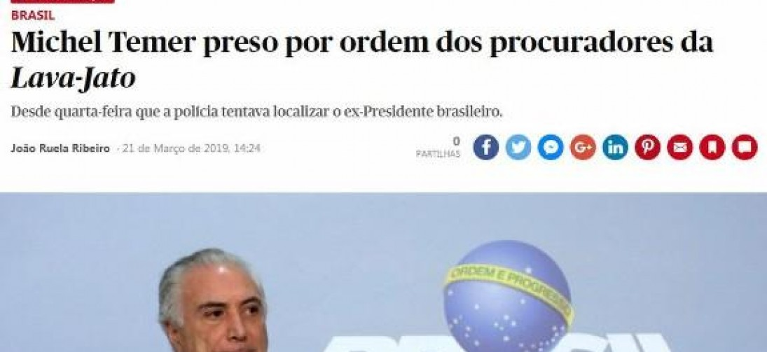Prisão de Temer é destaque na imprensa internacional